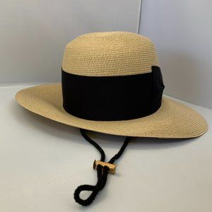 Gucci Straw Hat with Knot Ribbon in Beige
